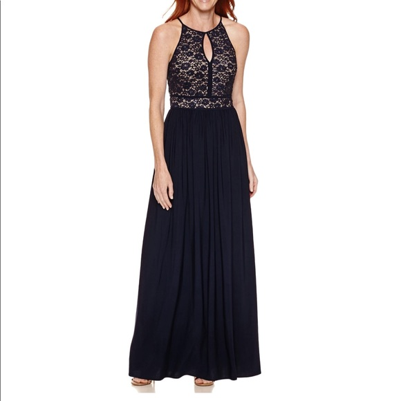 R & M Richards Dresses | Rm Richards Sleeveless Lace Formal Halter ...